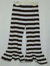 Blanks Boutique Brown White Ruffled Pants Cotton Spandex Size 4T image 1