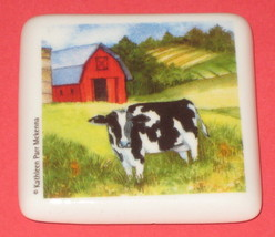 "Cow Barn Ceramic Tile Magnet Farm 2"" Square Kitchen Refrigerator Moo New - $7.91"