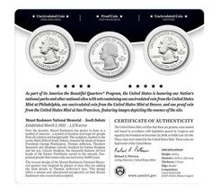 2013 P D & S US Mint Mount Rushmore ATB Quarters 3 Coin Set Sealed W COA - New image 2