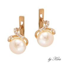 NEW Russian Solid Rose Gold Earrings 14K fine jewelry pearl diamonds USS... - $236.61