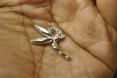 3D Solid Sterling Silver Celtic Fairy Tinker Bell Love Pendant Charm Jewelry