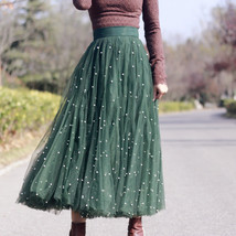 Dark Green Long Tulle Skirt Outfit Plus Size Bridesmaid Tulle Skirt, Pearl deco image 2
