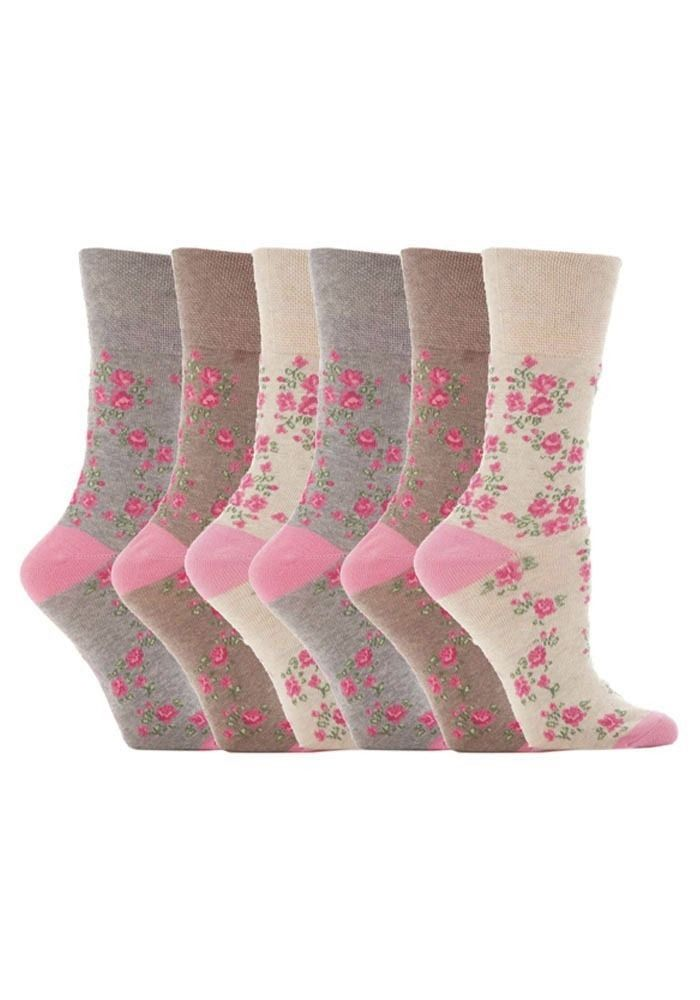 Gentle Grip - 6 Pack Womens Ladies Loose Top Non Binding Elastic Cotton Socks