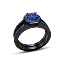 925 Silver 18k Black Gold Plated Round Cut Blue Sapphire Bridal Wedding Ring Set