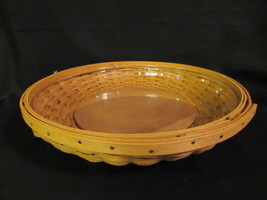 """Longaberger Basket 10.5"""" Low Bowl with Plastic Liner 2005 Signed with Wood Base  - $39.99"""