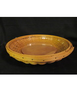 """Longaberger Basket 10.5"""" Low Bowl with Plastic Liner 2005 Signed with Wo... - $39.99"""