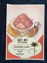 Date Nut Ice Cream ~ Deliciously Different ~ Mecca California CA Large+ ... - $34.39