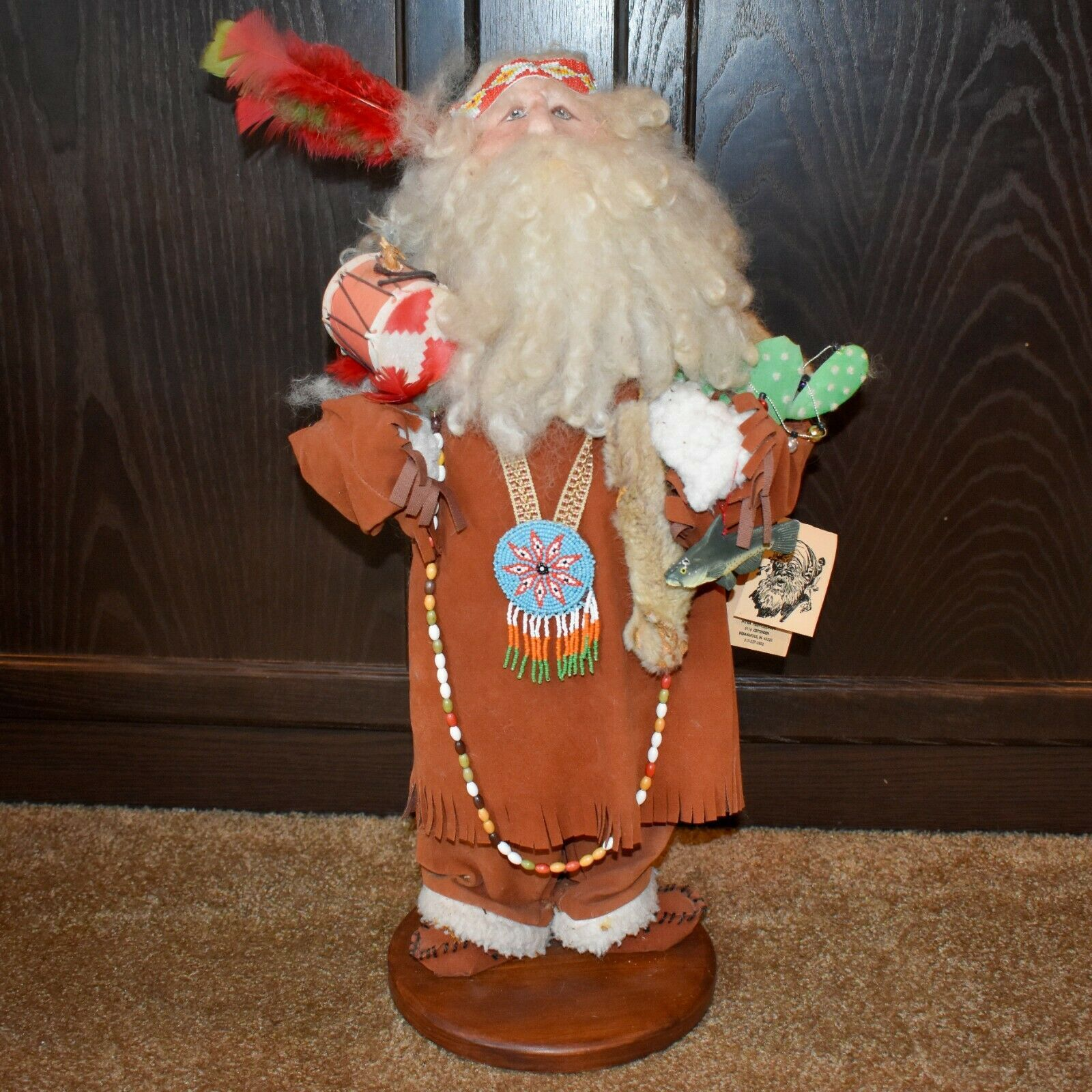 "Handcrafted Indian Chief Santa Claus Father Christmas Signed 23"" Cloth Doll #1"