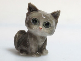 Handmade Miniatures Collectible Ceramic Porcelain Big Head Cat FIGURINE - $3.96
