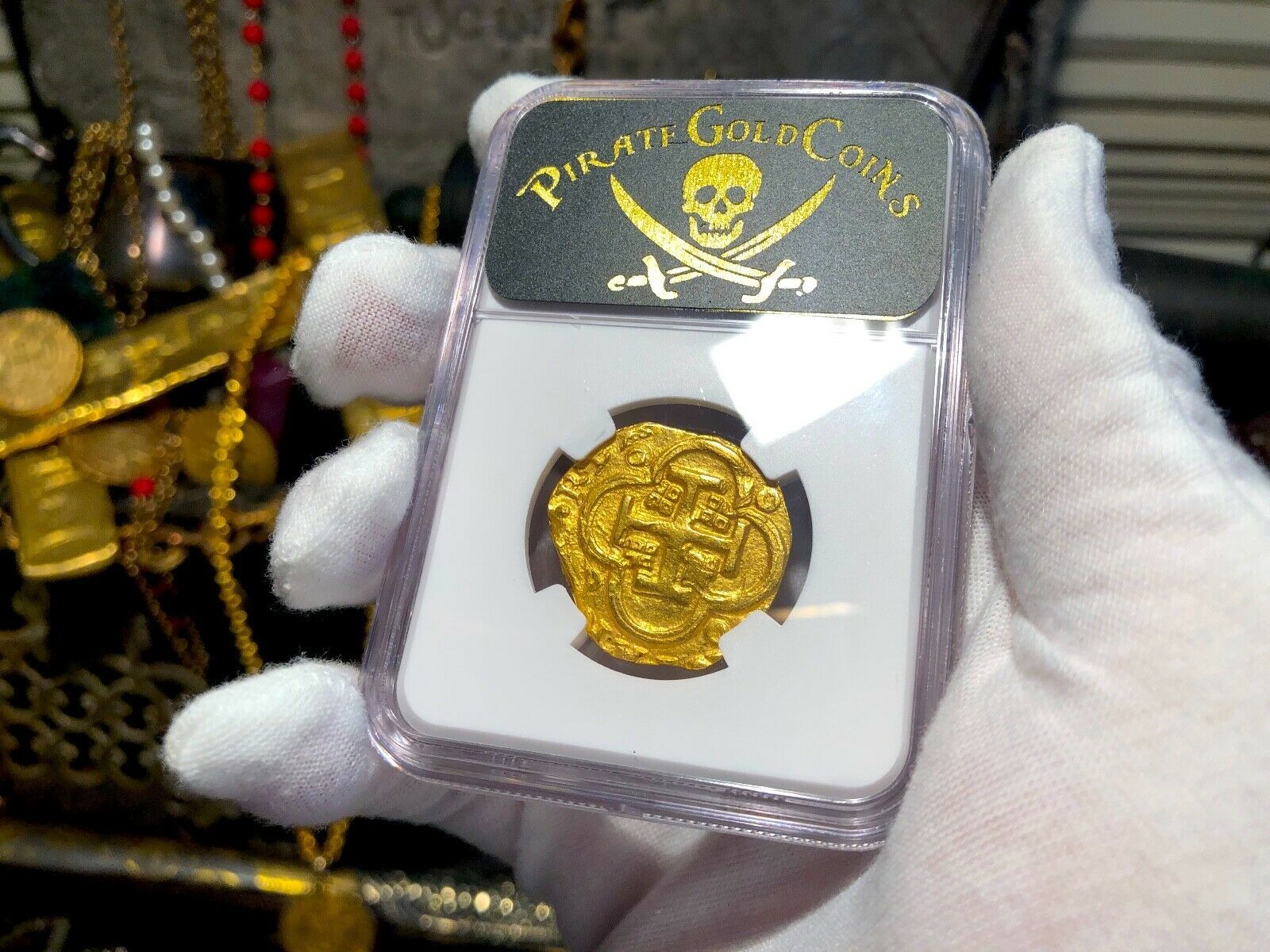 """SPAIN 4 ESCUDOS 1621-65 """"BRUTE STYLE"""" NGC 61 PIRATE GOLD COINS TREASURE DOUBLOON"""