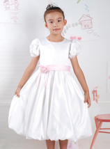 New Satin Flower Girl Party Bridesmaid Dress in White,Pink 18 Months to ... - $16.42