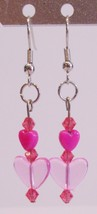 handmade pink heart bead dangle earrings - $9.00