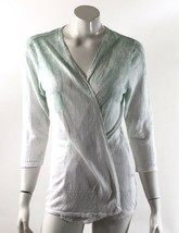 Chico's Cardigan Sweater Size Medium 1 Green White Floral Ombré Open Front - $19.79