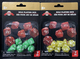 2 Sets Classic Game Role Playing Dice 7 pieces each set Green and Yellow... - $9.80