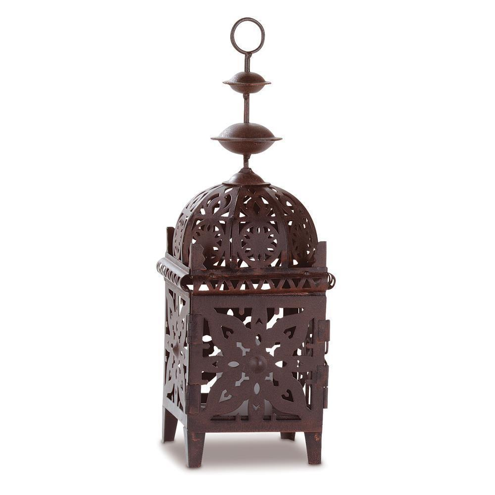 2 Moroccan Bird Cage Candle Lantern Brown Metal Hanging Tabletop Gallery 31574