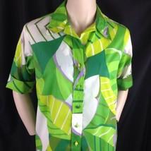 Lady Bayard Mod Bold Hawaiian Shirt Dress Wide Collar Exotic Tropical Le... - $38.61