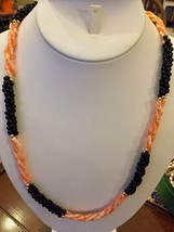 "PInk coral & Black Onyx Necklace Twisted bead 22 1/2"" Salmon three strand - $29.65"