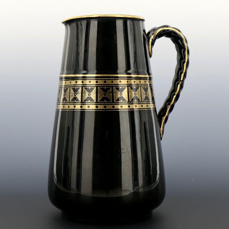 "Antique English Black Jackfield Pottery 8 1/4"" Pitcher Gold Band Reg Mark 1872"