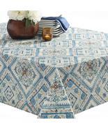 "Benson Mills Aurora  Blue Orange Yellow Medallions Tablecloth 104"" Oblong - $35.00"