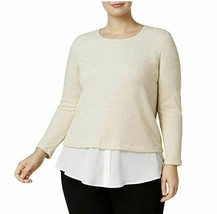 Calvin Klein Women's Plus Size Ribbed Lurex 2fer Top GOLD COMBO SIZE 1X - $15.84