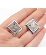 925 Sterling Silver - Textured Etched Star Pattern Square Cuff Links - T... - $39.50
