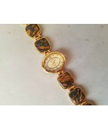 Badavici Vintage Women's Wrist Watch Semi Precious Stones Gold Tone Oval... - $92.99