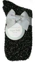 Charter Club Damen 1-Pair Metallisch Schwarz Silber Unscharf Cozy Socken Sz 9-11