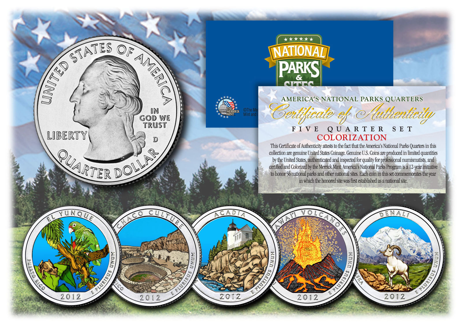 2012 America The Beautiful COLORIZED Quarters U.S. Parks 5-Coin Set w/Capsules