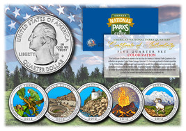 2012 America The Beautiful COLORIZED Quarters U.S. Parks 5-Coin Set w/Ca... - $12.82