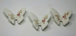 3 Vtg Homco Ceramic Butterflies Rose Bouquet Wall Decor 1970s approx 3.5... - $25.64