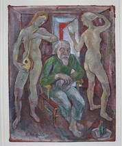 Emanuel Romano Glicen with Two Models RARE 1935 Oil Painting on Cloth, S... - $1,150.00