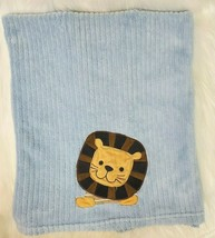 Lambs & Ivy Baby Boy Blue Ribbed Lion Soft Plush Baby Blanket Security B45 - $39.99