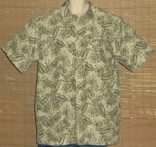 LL Bean Hawaiian Shirt Green Tan Floral Size XL-TALL - $29.99