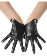 BLACK ZIP BIKER LEATHER GLOVES LES DEBUTANTES - $21.25