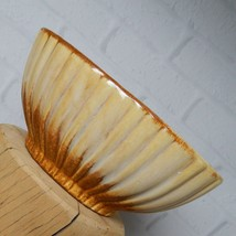 """Vintage Haeger Pottery 4020 Planter Ribbed Yellow Brown Oval USA 7.5"""" - $21.99"""