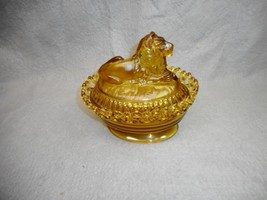 VINTAGE AMBER GLASS LION COVER CANDY DISH IMPERIAL GLASS PAT 1889 N/R - $199.98