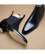 Brogues Toe Black Color Genuine Leather High Ankle Party Wear Chelsea Me... - $149.90+