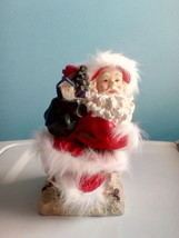 Santa Claus On Chimney Hat And Robe Has White Fur Poly Resin Figurine - $11.88