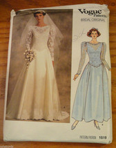 Vogue Sewing Pattern Bridal Gown size 10 Dress Petticoat Wedding 1519 - $11.00