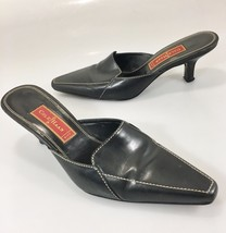 "Cole Haan City Womens 8B Black Leather Slides Mules 2.5"" Kitten Heels Shoes - $37.73"