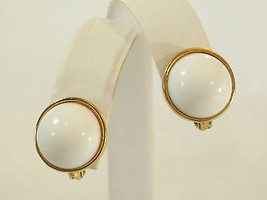 MONET Domed WHITE Button Style Clip Earrings Gold Plated Round Vintage C... - $13.85