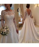 Vintage White Pricess Wedding Dresses Full Long Lace Bridal Gowns Backle... - $135.00