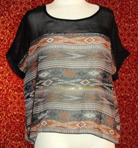 FINAL TOUCH black tribal batwing open back blouse S (T11-02D9G) - $7.90