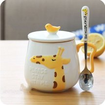 Yellow Giraffe Mugs Coffee Milk Tea Cup Drinkware + Cover Lid + Spoon - $32.95