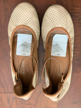 Franco Sarto Ankle Strap Flat Ballet Round Toe Shoes Nude Leathe US 6.5 SH Fast - $25.50