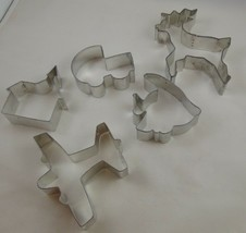 Mixed lot of 5 cookie cutters baby buggy, fish, plane, church, reindeer - $9.89