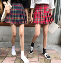 Holiday RED PLAID SKIRT Women Girl Pleated Plaid Skirt School Style Plaid Skirt image 3