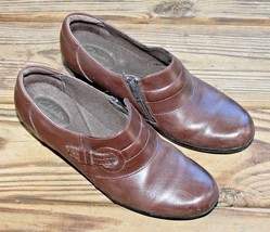 Clarks Size 9.5 M Bendables 62938 Clogs Shoes Brown Leather Zip Size Wom... - $23.74