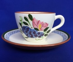 Stangl Fruit and Flowers Cup And Saucer Set Pattern Art Pottery Coffee T... - $8.50
