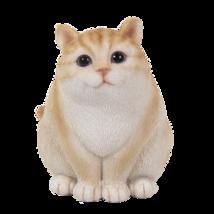 Fat Fluffy Yellow Golden Cat Statue Cute Kitty Resin Glass Eyes Garfield - $16.78
